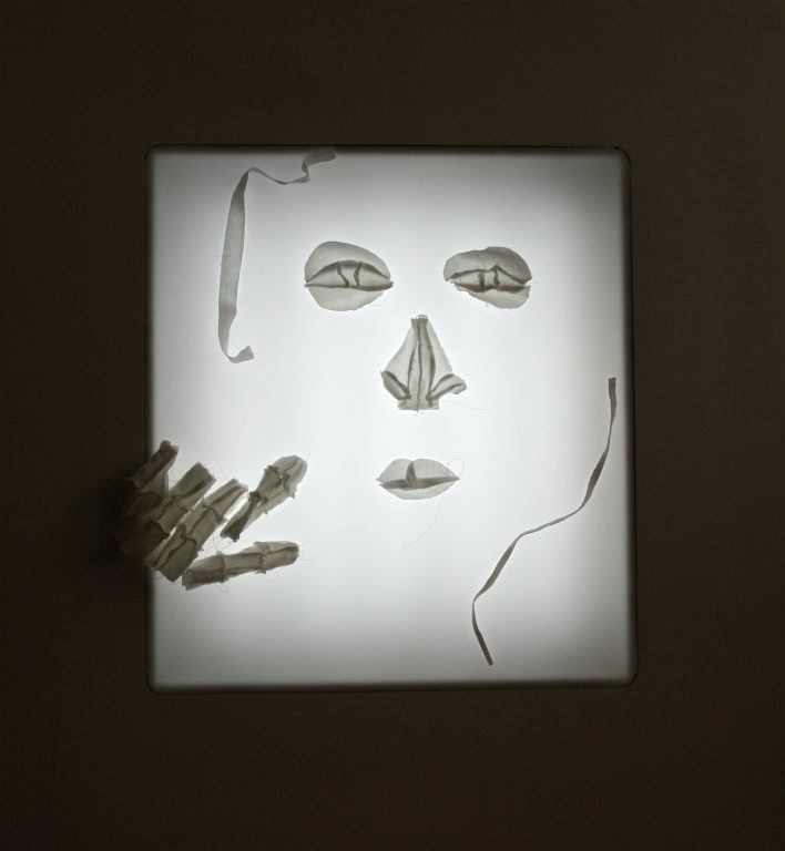 no-one-there-shroud-piece-5x78x73cm-stitched-linen-on-light-box