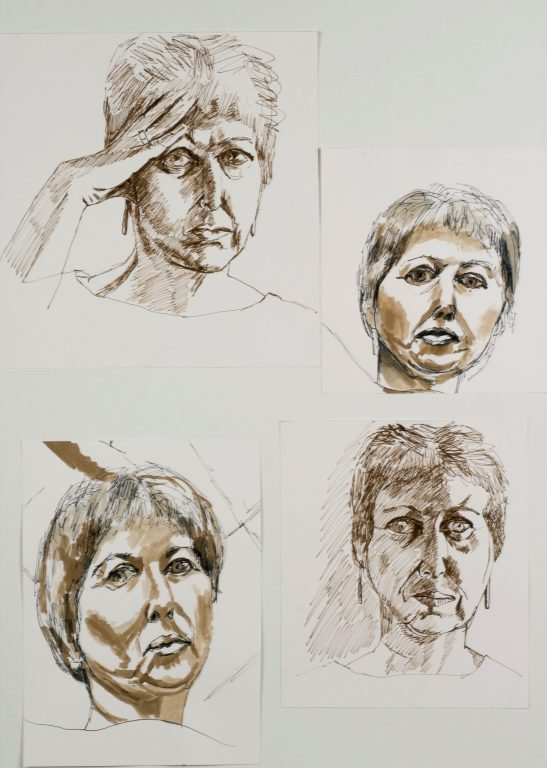 4 faces 69x49cm [pen and wash]