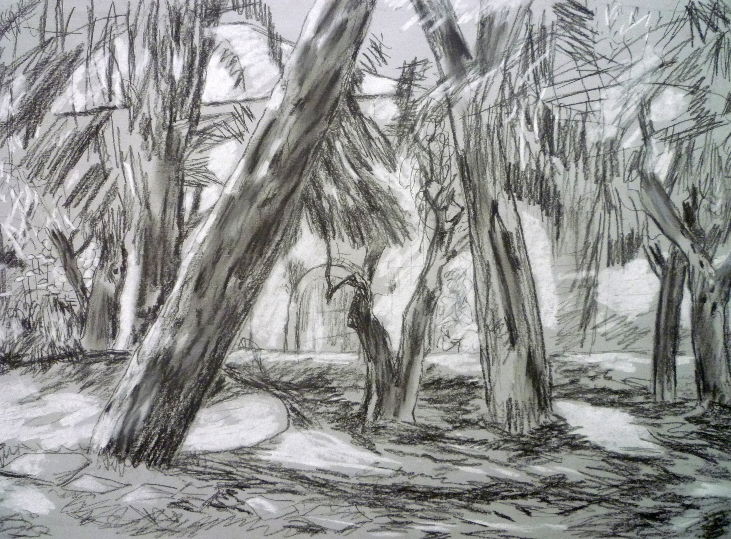 Landscape [charcoal and white chalk on grey paper]