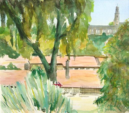 jerusalem-roofs-watercolour-40x45cm