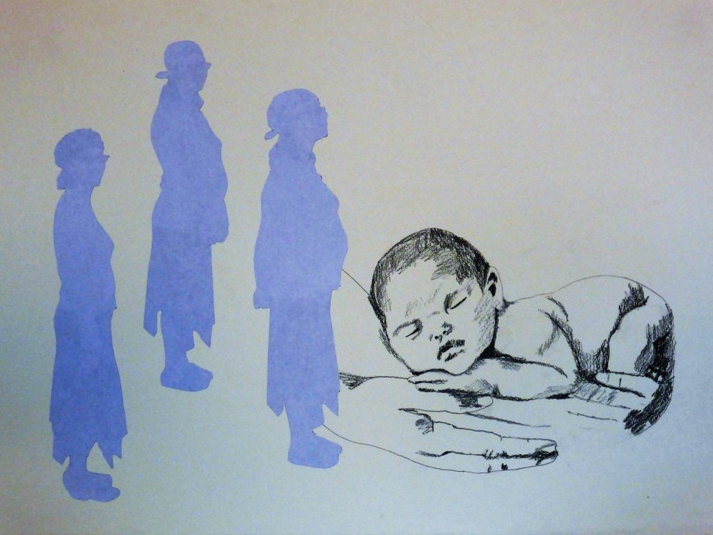 My surrogate daughter Tamar, baby Tamar 37x52cm. [collage, graphite]
